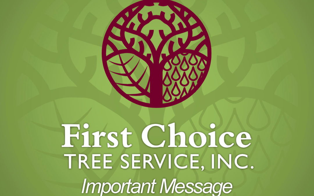 AN IMPORTANT MESSAGE FROM FIRST CHOICE TREE SERVICE